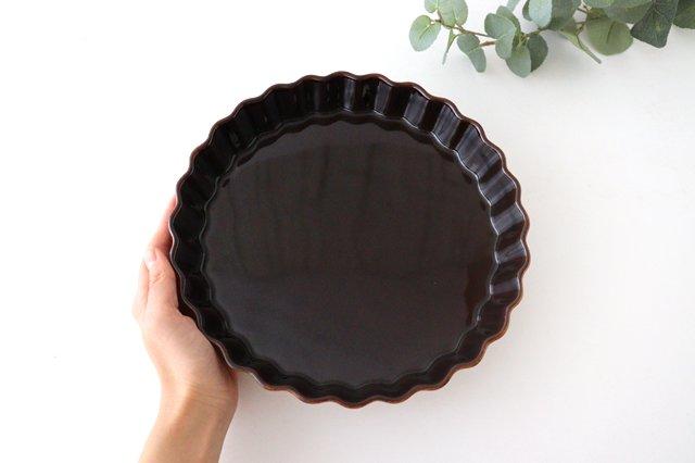 キッシュ皿 大 マーガレット 茶 耐熱陶器 光泉窯 萬古焼 画像4