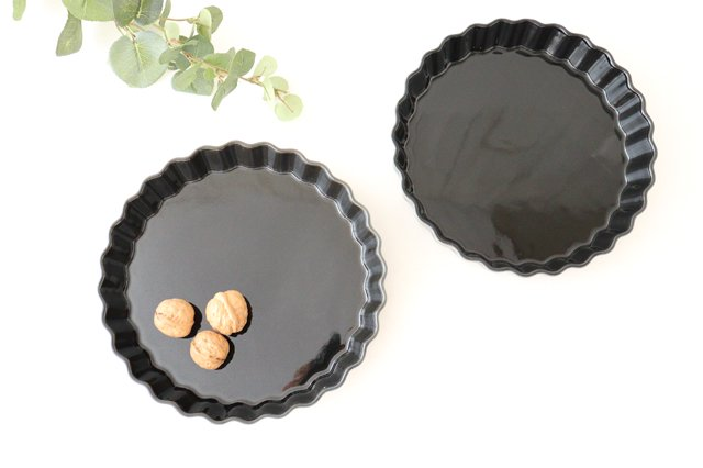 キッシュ皿 大 マーガレット 紺 耐熱陶器 光泉窯 萬古焼 画像3