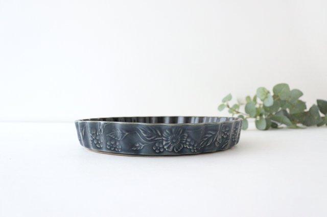 キッシュ皿 大 マーガレット 紺 耐熱陶器 光泉窯 萬古焼 画像4