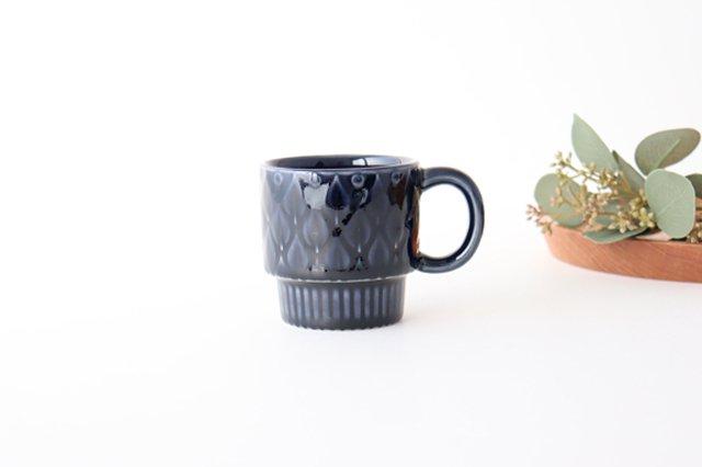マグカップ リーフ 紺 陶器 光泉窯 萬古焼