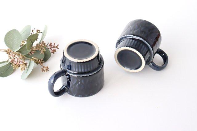 マグカップ リーフ 紺 陶器 光泉窯 萬古焼 画像3