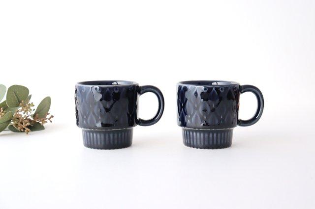 マグカップ リーフ 紺 陶器 光泉窯 萬古焼 画像5