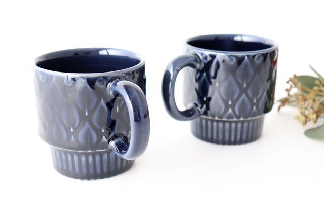 マグカップ リーフ 紺 陶器 光泉窯 萬古焼 画像6