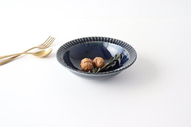 平鉢 紺 陶器 光泉窯 萬古焼