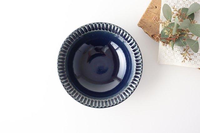 平鉢 紺 陶器 光泉窯 萬古焼 画像2