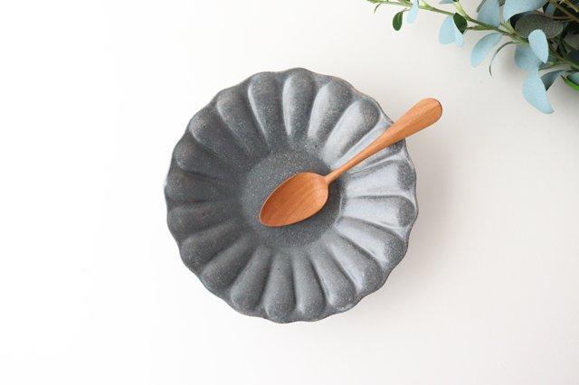 グレー釉 輪花深皿 大 陶器 古谷製陶所
