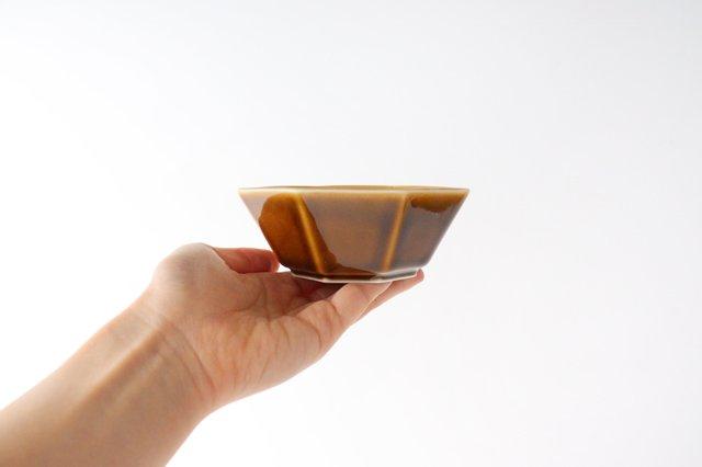 八角小鉢 ブラウン 磁器 美濃焼 画像3