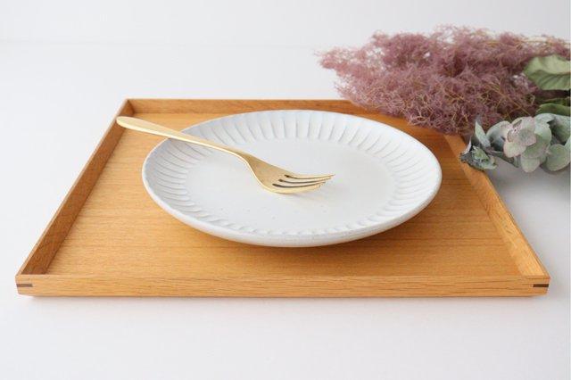 白マット 太鎬 丸平皿 大 陶器 樹ノ音工房 画像2