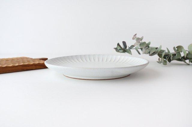 白マット 太鎬 丸平皿 大 陶器 樹ノ音工房 画像4