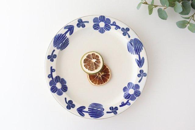 8寸リム皿 花 青 和紙染 陶器 安見工房 信楽焼