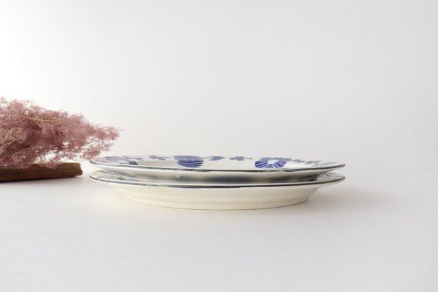 8寸リム皿 花 青 和紙染 陶器 安見工房 信楽焼 画像2