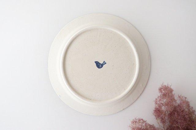 8寸リム皿 花 青 和紙染 陶器 安見工房 信楽焼 画像3