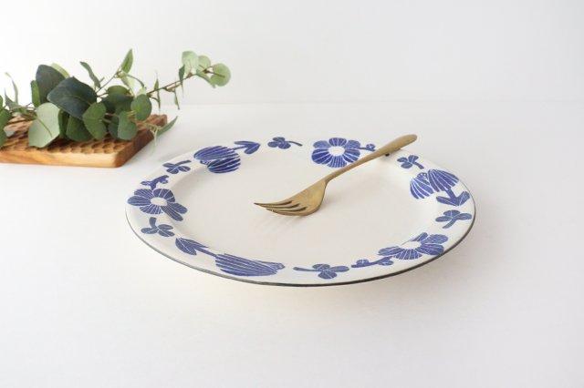 8寸リム皿 花 青 和紙染 陶器 安見工房 信楽焼 画像5