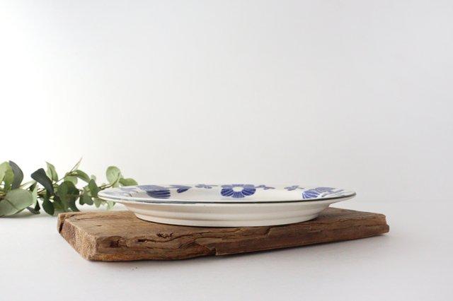 8寸リム皿 花 青 和紙染 陶器 安見工房 信楽焼 画像6