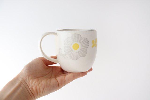 マグカップ 花 陶器 安見工房 信楽焼 画像4