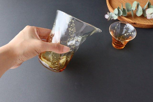 【無料ラッピング対象】瑞彩 酒器セット 琥珀 ガラス 津軽びいどろ 画像5