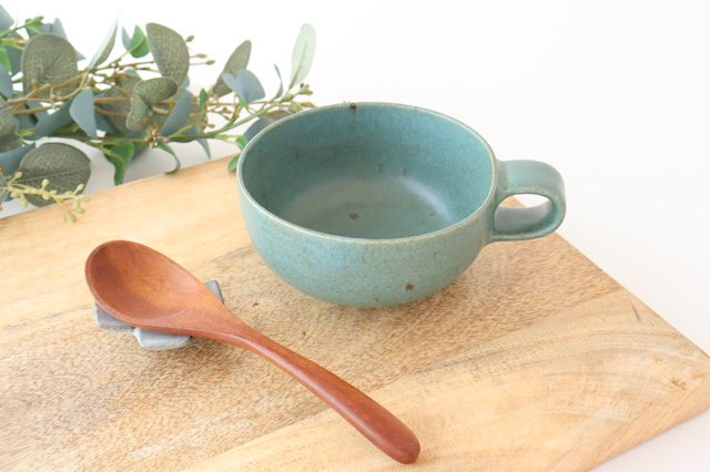 スープカップ 緑 陶器 寺嶋綾子