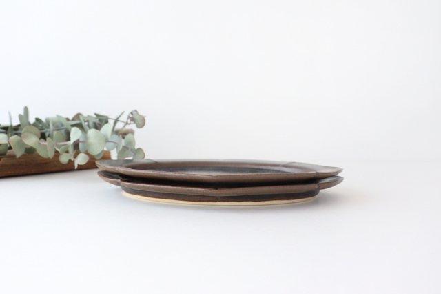 鉄釉 花菱楕円皿 M 陶器 松尾直樹 画像2