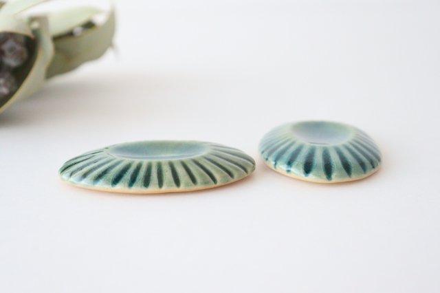 緑ガラス釉 輪花楕円箸置き 陶器 松尾直樹 画像3