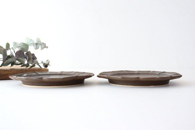 鉄釉 花型皿 S 陶器 松尾直樹 画像2