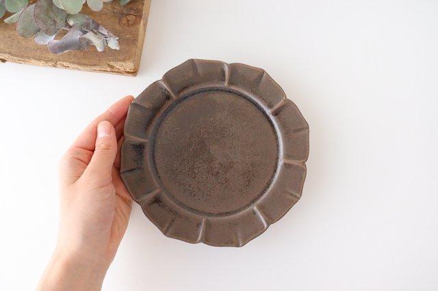 鉄釉 花型皿 S 陶器 松尾直樹 画像3