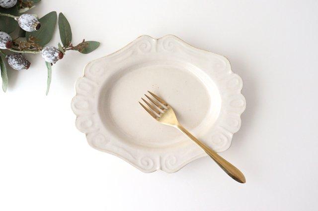 アンティークホワイト ロココ楕円皿 陶器 木のね