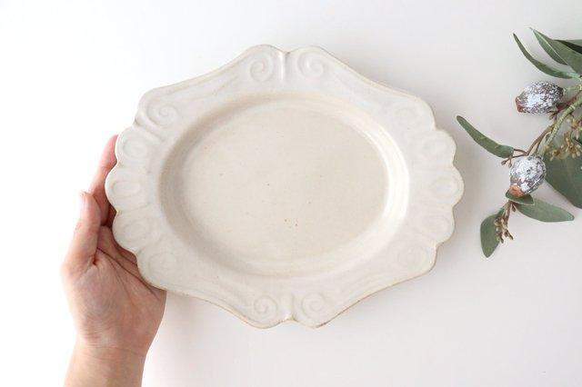 アンティークホワイト ロココ楕円皿 陶器 木のね 画像2