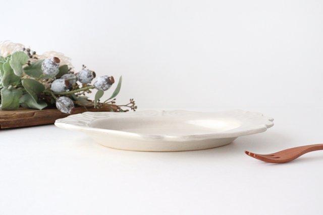 アンティークホワイト ロココ楕円皿 陶器 木のね 画像3