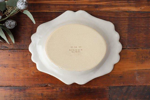 アンティークホワイト ロココ楕円皿 陶器 木のね 画像4