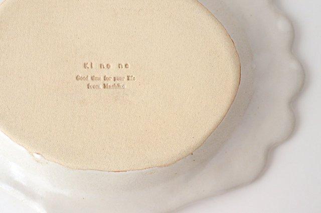 アンティークホワイト ロココ楕円皿 陶器 木のね 画像5