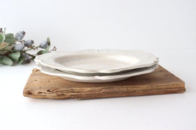 アンティークホワイト ロココ楕円皿 陶器 木のね 画像6