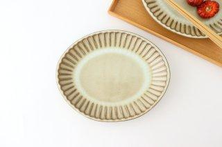 しのぎ だ円皿 大 白 陶器 小代焼ちひろ窯商品画像