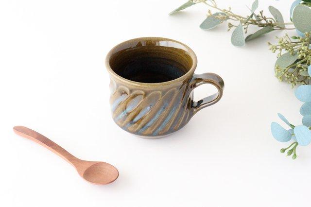 しのぎ マグカップ 緑 陶器 小代焼ちひろ窯