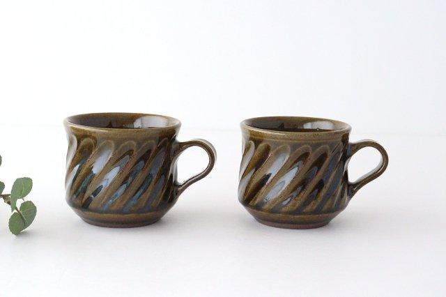 しのぎ マグカップ 緑 陶器 小代焼ちひろ窯 画像2