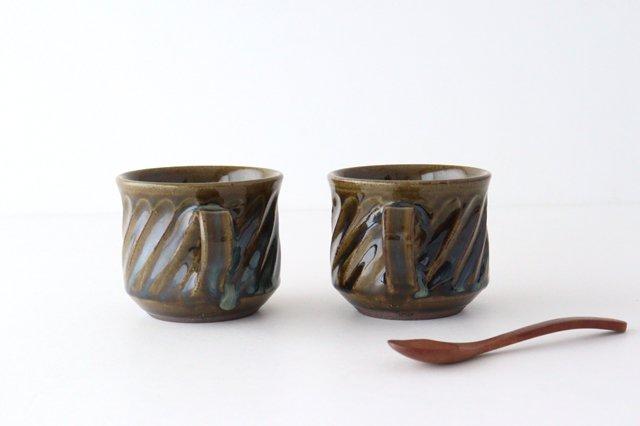 しのぎ マグカップ 緑 陶器 小代焼ちひろ窯 画像3