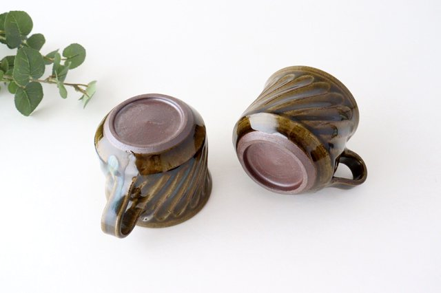 しのぎ マグカップ 緑 陶器 小代焼ちひろ窯 画像5