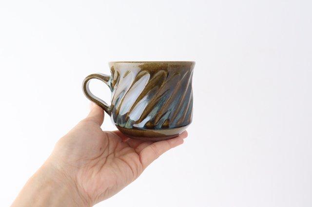 しのぎ マグカップ 緑 陶器 小代焼ちひろ窯 画像6