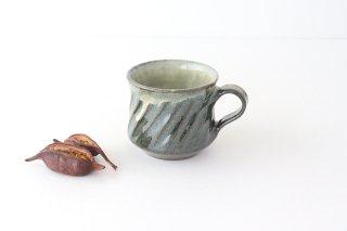 しのぎ マグカップ 青 陶器 小代焼ちひろ窯商品画像