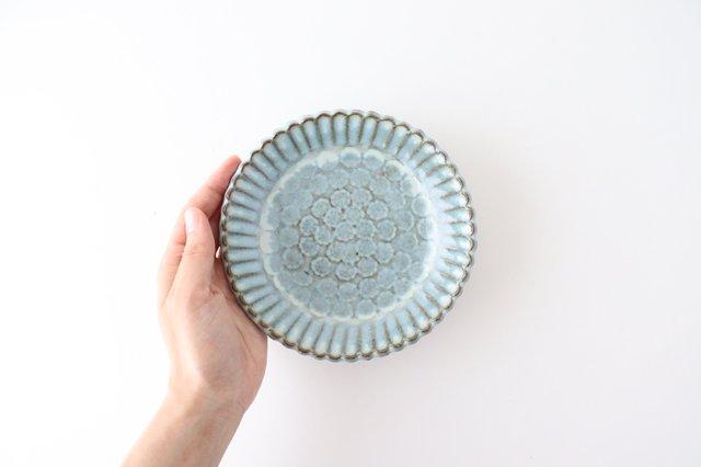 印判輪花皿 小 白 陶器 小代焼ちひろ窯 画像3