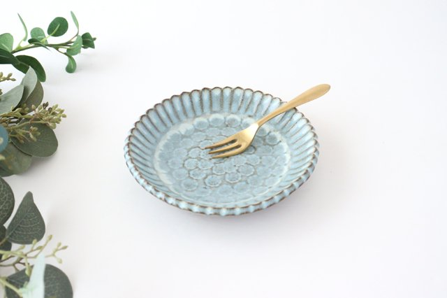 印判輪花皿 小 白 陶器 小代焼ちひろ窯 画像4