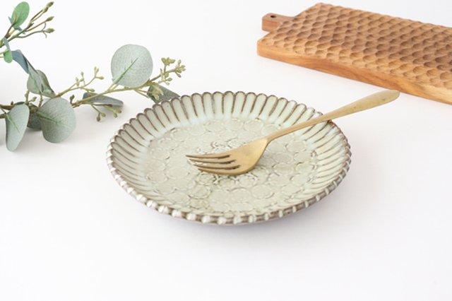 印判輪花皿 中 黄 陶器 小代焼ちひろ窯