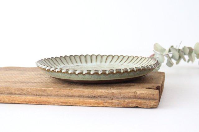 印判輪花皿 中 黄 陶器 小代焼ちひろ窯 画像2