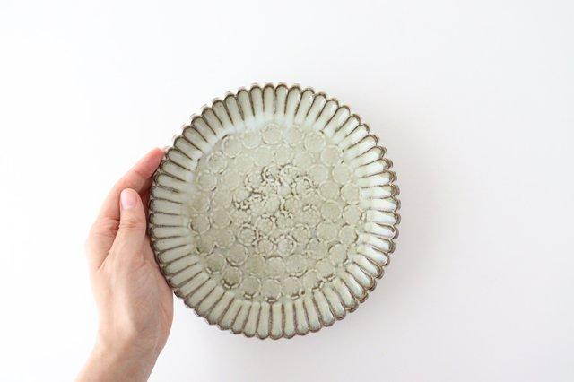 印判輪花皿 中 黄 陶器 小代焼ちひろ窯 画像3