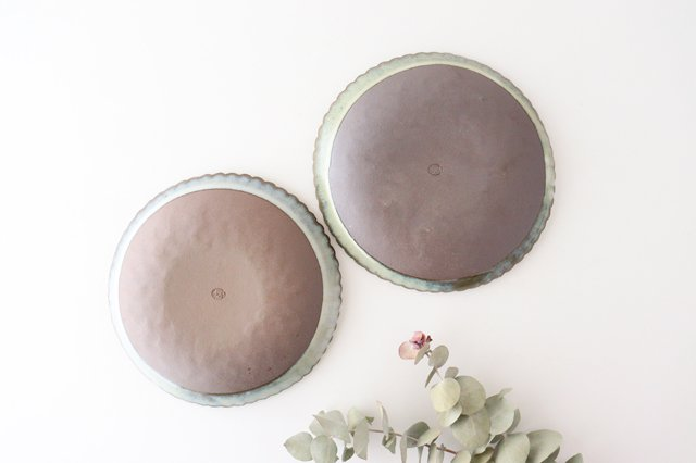 印判輪花皿 中 黄 陶器 小代焼ちひろ窯 画像4