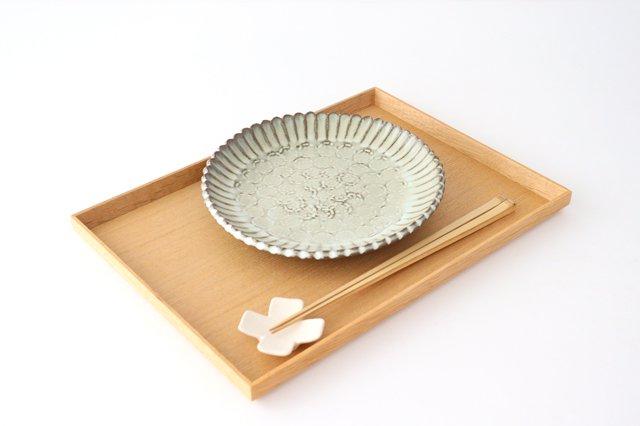 印判輪花皿 中 黄 陶器 小代焼ちひろ窯 画像5