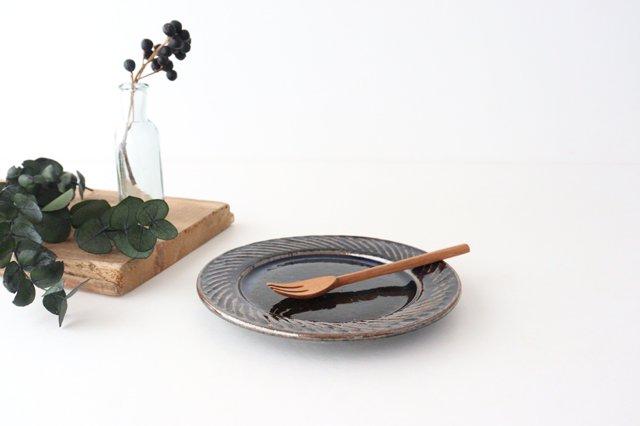 ナナメしのぎプレート 5.5寸 ルリ 陶器 伊藤豊 画像2