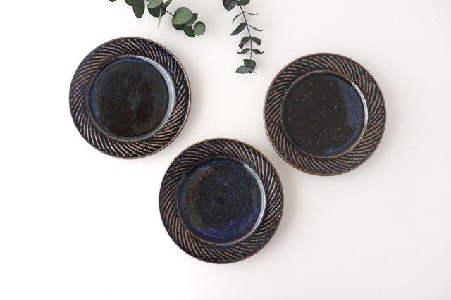 ナナメしのぎプレート 5.5寸 ルリ 陶器 伊藤豊 画像3