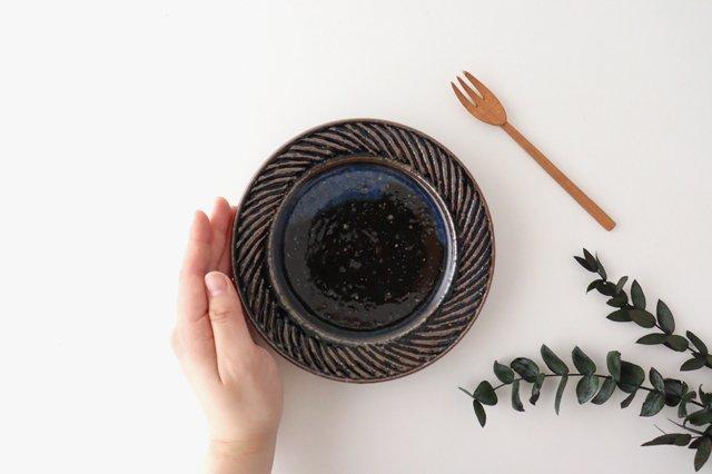 ナナメしのぎプレート 5.5寸 ルリ 陶器 伊藤豊 画像6