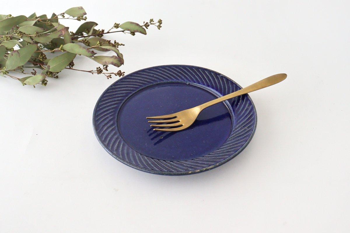 ナナメしのぎプレート 6.5寸 ルリ 陶器 伊藤豊 画像2