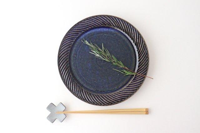 ナナメしのぎプレート 7.5寸 ルリ 陶器 伊藤豊 画像4